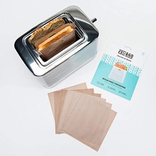 Antiadherentes CELI/&GO Bolsas para Tostar en Sandwichera o Tostadora Grande tama/ño Bocadillo 20 x 25 cm Lavables Pack de 2 Bolsas para Tostar en Sandwichera Reutilizables