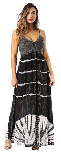 Rayon Crepe - Riviera Sun 21801-BLK-2X Summer Dresses Maxi Dress Sundresses For Women