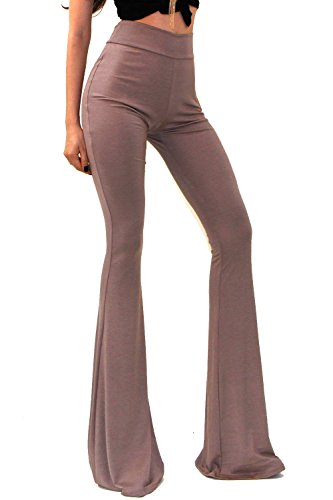 Vivicastle Women's Boho Solid Hippie Wide Leg Flared Bell Bottom Pants (Medium, Khaki)