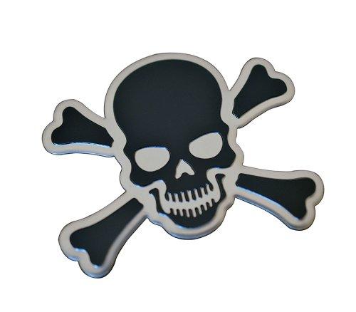 ERPART BLACK on Silver CROSSBONES SKULL Cross Bones Skeleton Pirate Jolly Roger Real Aluminum Auto Emblem Badge Nameplate