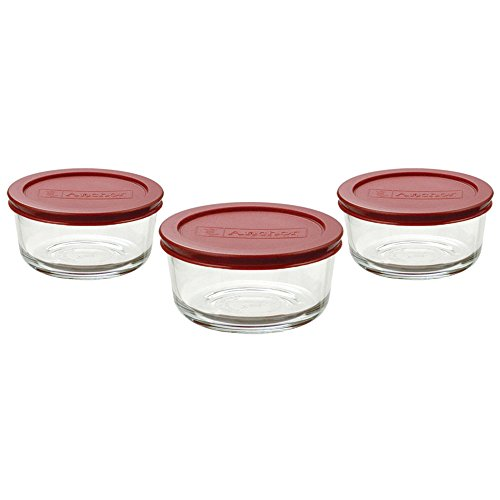 Anchor Hocking 2-Cup Round Food Storage Containers with Red Plastic Lids, Set of 3