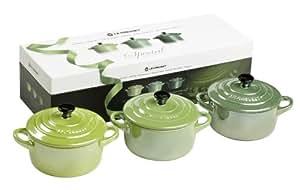 Le Creuset - Juego de cuenco de gres para cacerolas de 3 Petite - molde redondo para - nacarante verde - 10 cm