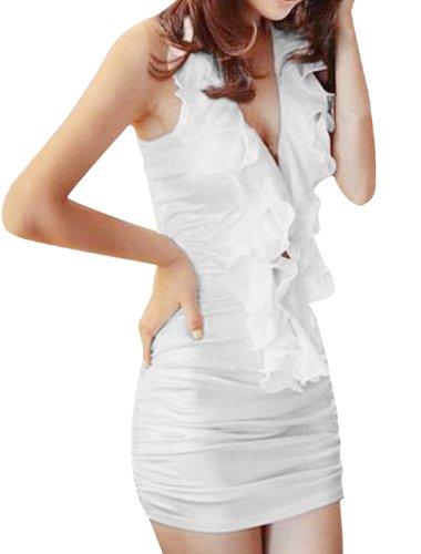Allegra K Women Ruffled Embellished Halter Neck V Neckline Sexy Ruched Dress
