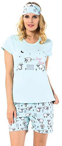 Kartex Women Pajama Set Short Sleeves Sleep Mask Gift (Sheep, X-Large)]()
