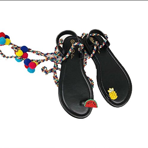 JUWOJIA Holiday Wind Bohemia Wool Ball Cross Ties Sandals Female Summer Fruit Pinch Feet Flat Bottom Sandals.Thirty-Five Treinta y cinco