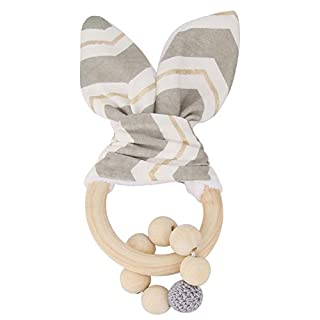 Natural Wooden Teether RingsToy, Bunny Ear Organic Baby Teething Toy Wood Teething Holder Nursing Soothing Toy for Baby Gift(Gray)