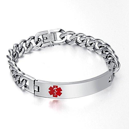 Free Custom Engraved Stainless Steel Cuban Chain Medical Alert ID Identification Bracelets (Kids Customs)