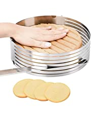 Layer Cake Leveler Slicer Adjustable Cake Rings 7-Layer Cake Cutter Stainless Steel Cake Slicing Accessories, 9.8-12.2 inch