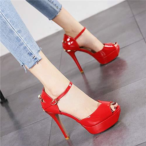Hrcxue Impermeable Palabra Sandalias Boca Zapatos Rojo Hebilla De Alto Tacón Aguja Corte Abierta Plataforma Pescado Mujer Punta La Charol Cr6rqxXw