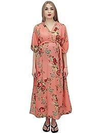 Bimba Moms Salmon Floral Printed Kaftan with Belt Maternity Maxi Dress-12