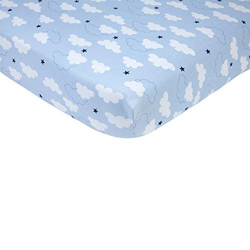 Carter's Take Flight Airplane/Cloud/Star 100% Cotton Fitted Crib Sheet, Blue, Navy, White (Crib Airplane)
