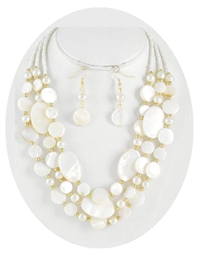 Shell And Bead Drop Necklace (Shell & Pearl Necklace Set Mother of Pearl Beads Boxed (#99) (Cream))