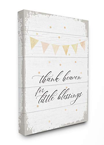 The Kids Room By Stupell Yellow Bunting Thank Heaven for Little Blessings Planked Look Canvas Wall Art, 16 x 20, Proudly Made in ()
