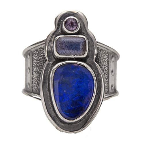 - Tabra 925 Silver Opal & Moonstone & Iolite Ring Jewelry for Girls Women Anniversary Party Gift New from Esme's Vault OOK277 Sz (7)