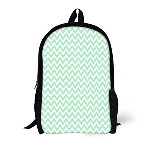 Pinbeam Backpack Travel Daypack Green 300 for Light Mint Chevron Pattern Baner Waterproof School -