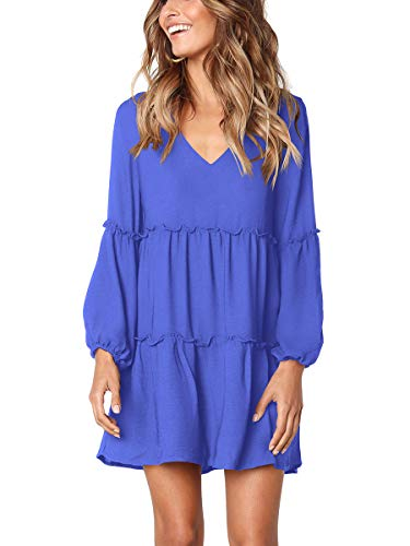 (Alaroo Ladies Ruffle Puff Sleeve Midi Fall Dresses for Women V Neck Short Sexy Blue M)