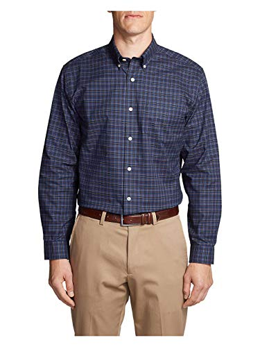 Oxford Relaxed Fit Oxford Shirt - Eddie Bauer Men's Wrinkle-Free Relaxed Fit Oxford Cloth Shirt - Pattern, Blue to