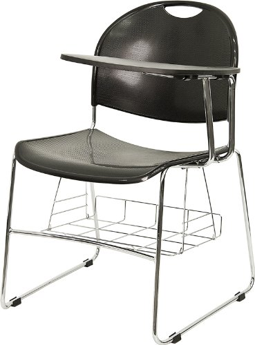 school desk black left facing flipup tablet arm chair chrome frame