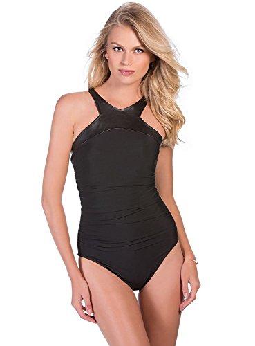 Magicsuit Women's Rev It Bonnie One Piece Underwire High Neck Swimsuit Black (Bonnie Black Leather)