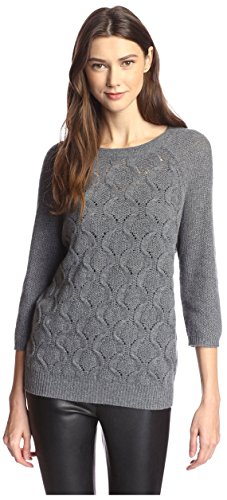 James & Erin Women's Boatneck Cable Cashmere Sweater, Smog Grey, L
