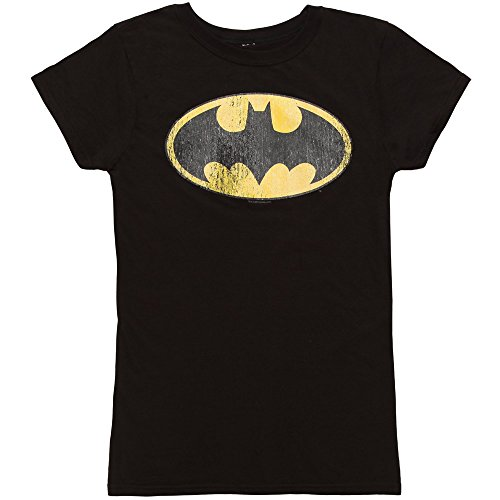 Batman Classic Distressed Logo Ladies T-shirt - Black (XX-Large)
