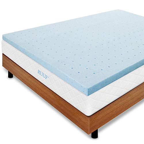 RUUF Mattress Topper Queen, 3 Inch Gel-Infused Memory Foam Mattress Topper, Cloud-Like Soft for Double Bed