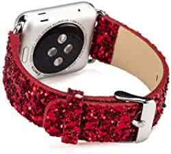 Applicable AppleWatch Sequin Watch with iwatch Flash Star Leather Glitter Bracelet (42mm/44mm - red)