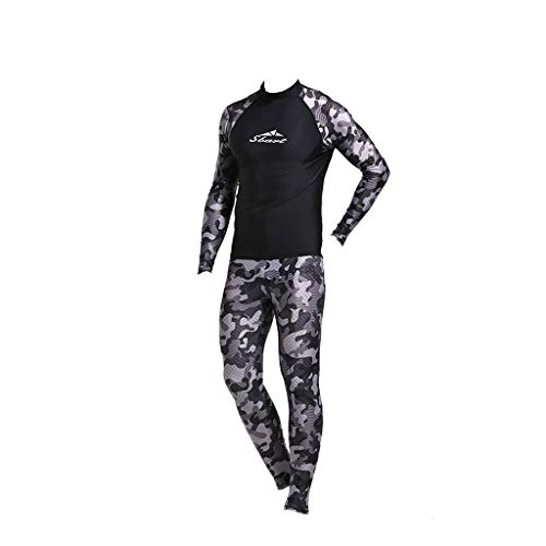 CofeeMO 2 Piece Men Long Sleeve Surfing Swimsuit,Camouflage Printed Swim Tops & Quick Dry Pants Snorkeling Wetsuit(Camouflage,L)