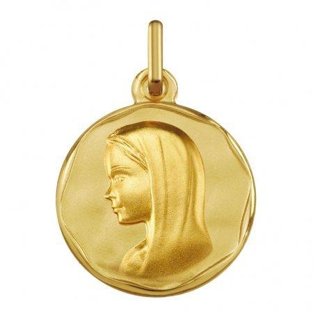 VIERGE MARIE AVEC VOILE - Médaille Religieuse - Or 18 carat - Hauteur: 16 mm - www.diamants-perles.com