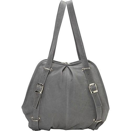 Piel Leather Convertible Buckle Backpack Shoulder Bag, Charcoal, One Size (Convert Leather Backpack)