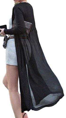 (ヴィラコチャ) Viracocya ロング カーディガン シフォン シースルー 薄手 長袖 トッパー uvカット レディース (ブラック ロング)