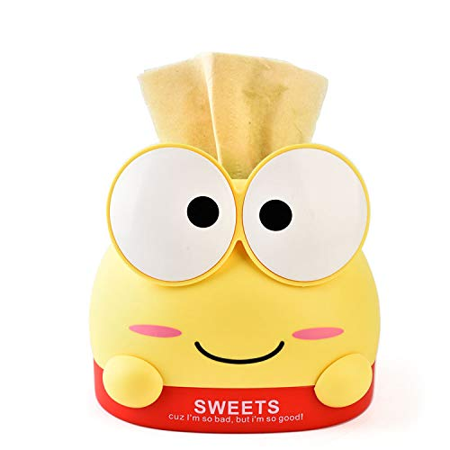 HaiSea Cute Cartoon Paper Facial Tissue Box Cover Holder for Bathroom Vanity Countertops, Desks and Tables-Tissue Holder, Tissue Organizer, Tissue Dispenser (Yellow, Paper Extraction -