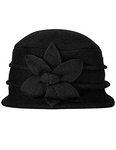 b9a0fbaf0575f Dahlia Women s Daisy Flower Wool Cloche Bucket Hat - Black - Buy ...