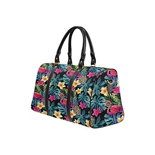 InterestPrint Carry on bag Travel Duffel Tote Unisex Weekender Bag Pineapple, Flamingo, Exotic Flowers and Leaves