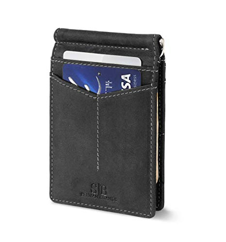 Genuine Billfold Leather Stitched Wallet - Travel Wallet RFID Blocking Bifold Slim Genuine Leather Thin Minimalist Front Pocket Wallets for Men Money Clip - Made From Full Grain Leather (Charcoal Black Rogue)