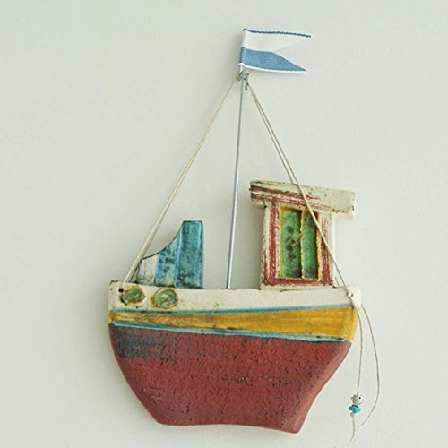 Greek Boats (Ceramic fishing boat, wall decor ceramic boat, Greek fishing boat with blue white flag.)