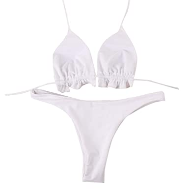 3e2d3e2beee89 Image Unavailable. Image not available for. Color  Women s Two Piece Swimsuits  Solid Color Side Halter Lacing Strap Swimwear Bikini Bathing Suits Set for