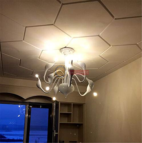 FidgetGear Modern Swan LED Pendant lamp Ceiling Light Chandelier Living Room Lighting Φ88cm White + LED Bulbs by FidgetGear (Image #5)