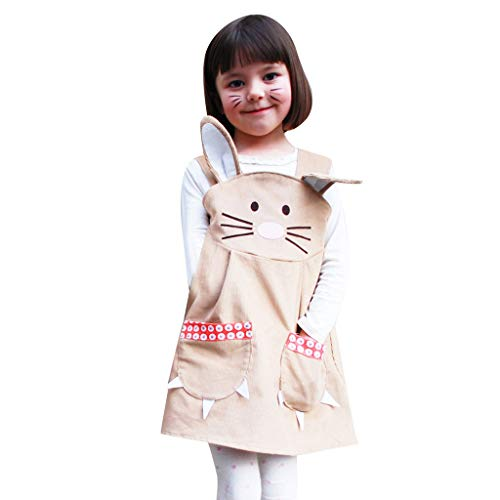 Baby Girl Tank Dress Sleeveless Bunny Printed Pocket Dress Outfit Cartoon Dress (Beige, Recommended Age:0-12 Months) by Suoxo Baby Dresses (Image #1)
