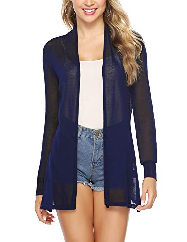 Abollria Womens Casual Long Sleeve Open Front Cardigan Sweater(Deep Blue,M) ()