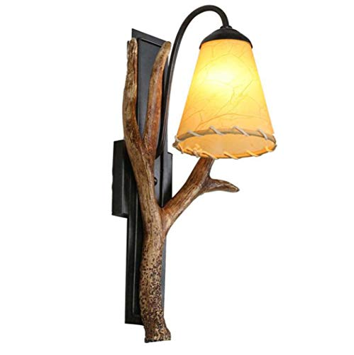 GAOLIQIN Antler Wall Lamp, Retro Nordic Wrought Iron Personality Wall Lamp, Living Room Dining Room Bedroom Internet Cafe Decorative Wall (Fine Feather Floor Lamp)