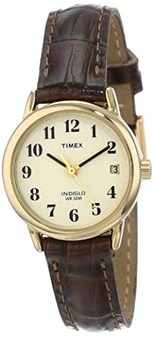 Timex Women's T20071 Indiglo Leather Strap Watch, Brown Croco/Gold-Tone (Watch With Date)
