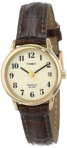 Timex Women's T20071  Indiglo Leather Strap Watch, Brown Croco/Gold-Tone ()