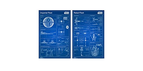 Trends International Wall Poster Star Wars Imperial and Rebel Blueprint Bundle, 22.375