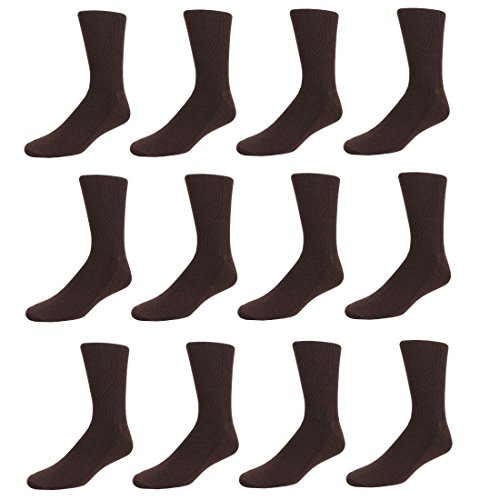 Men's Ribbed Dress Socks, 12 Pair Pack White, Brown or Ivory Crew Socks, Shoe Size 7-12