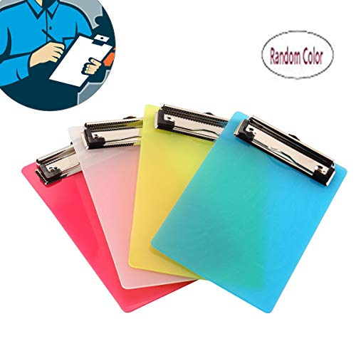 BinaryABC A6 Clipboards,Plastic Clipboard,Mini Colourful Transparent with Low Profile Clip,2 Pack(Random Color) -