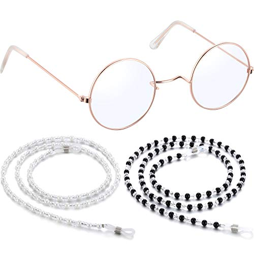 1 Pair Small Old Man Costume Glasses Granny Dress up Eyeglasses with 2 Beaded Sunglasses Chains (Round Frame) -