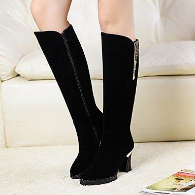 LFNLYX Mujer-Tacón Robusto-Tacones-Botas-Vestido / Casual-Cuero-Negro / Blanco / Beige Black