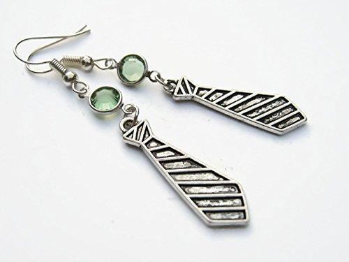 Neck Tie Birthstone Earrings, Personalized Necktie Earrings, Swarovski Crystal Earrings, Office Receptionist Gift -