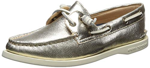 SPERRY Women's A/A/O Vida Metallic Boat Shoe, Platinum, 7.5